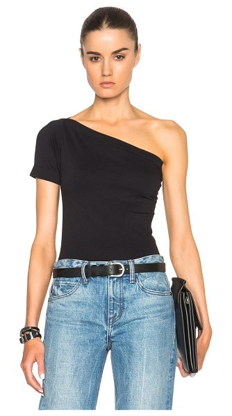 HELMUT LANG Asymmetrical Tee - 92% nylon 8% spandex.  Made in China.  Rib knit trim.