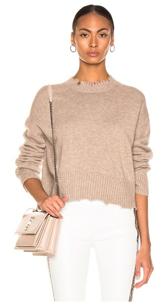 Helmut Lang distressed crew sweater in beige