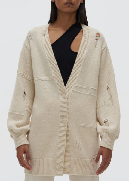 Helmut Lang Distressed Oversized Cardigan in ivory