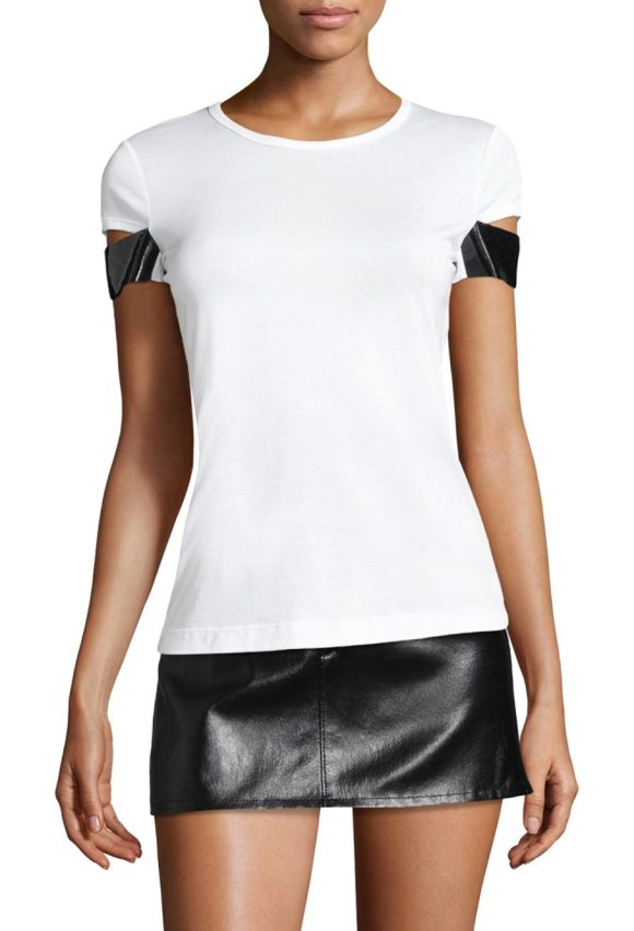 Helmut Lang glow shiny cuff tee in white clr - On-trend cotton tee featuring shiny cuffs detail....