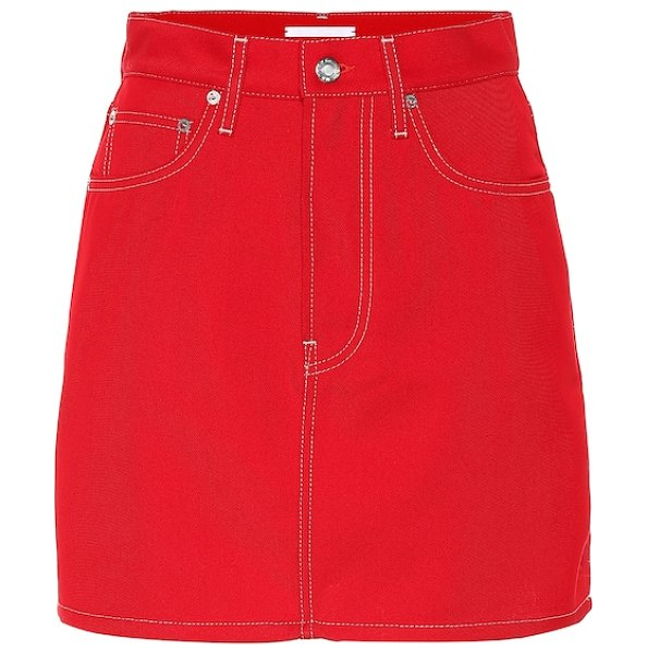 Helmut Lang Denim miniskirt in red - Helmut Lang's insouciant separates are best worn in...