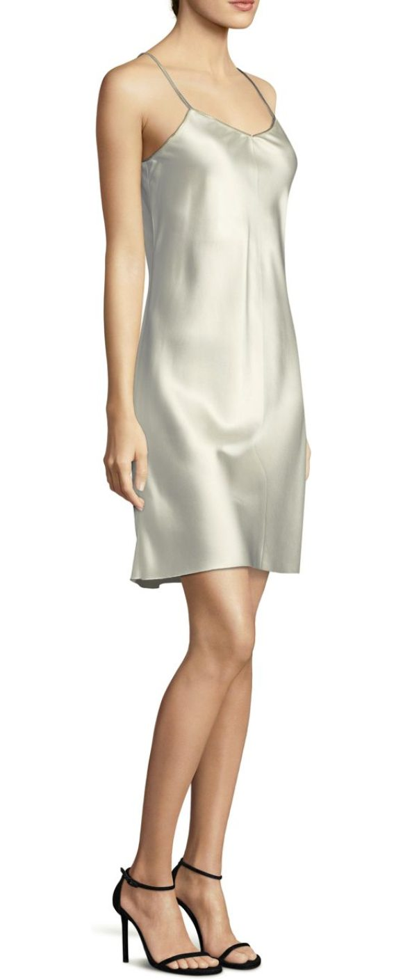 HELMUT LANG lacquered silk slip dress - Silk slip dress with extension back straps.V-neck....