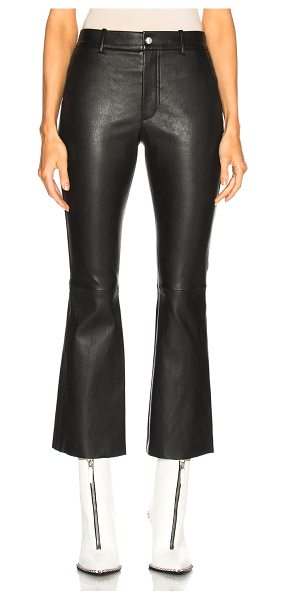 Helmut Lang Leather Flare Pant in black - Self: 100% lambskin leather - Lining: 100% cotton.  Made...