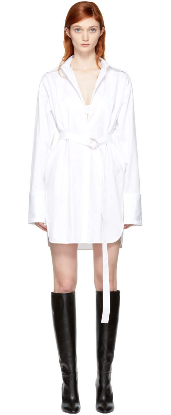 HELMUT LANG Oversized Shirt Dress - Long sleeve cotton poplin dress striped in tones of optic...