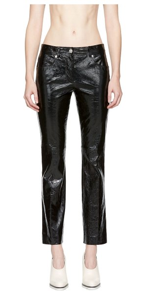 Helmut Lang Patent Leather Cropped Flare Trousers in black - Flared patent lambskin trousers in black. Mid-rise....