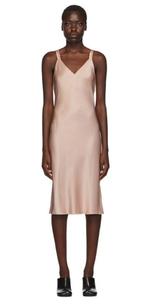 Helmut Lang pink double strap satin slip dress in sorbet