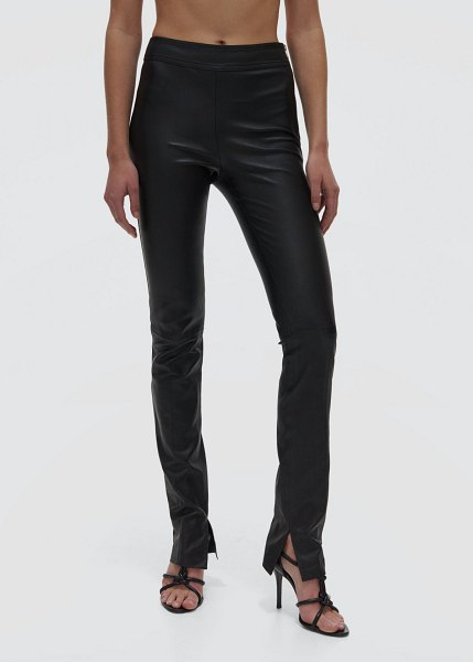 Helmut Lang Slit Leather Straight-Leg Pants in onyx