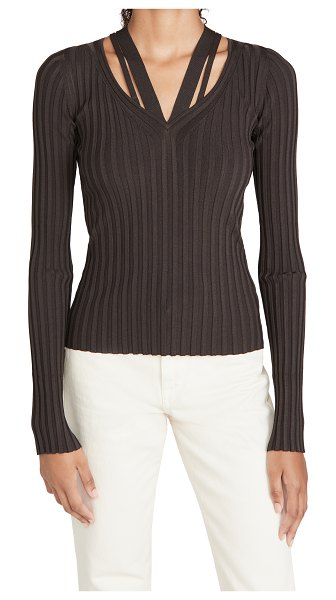 Helmut Lang strappy v neck top in charred umber