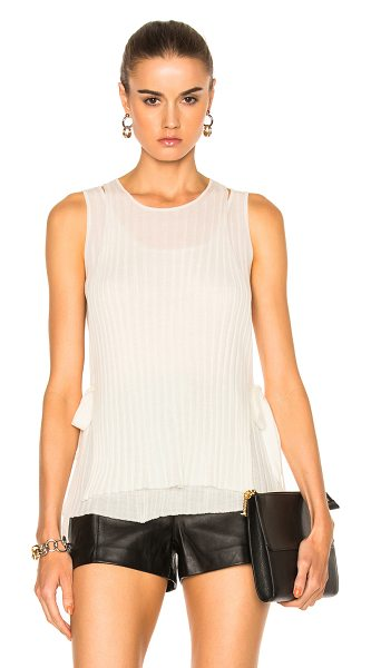 Helmut Lang Tie Tank Top in neutrals,white - 100% wool.  Made in China.  Dry clean only.  Rib knit...