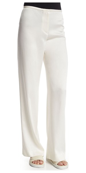 Helmut Lang Woven Wide-Leg Pants in ivory