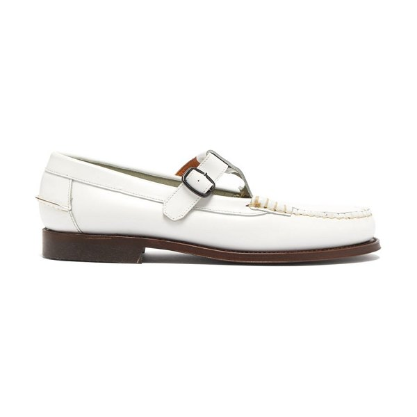HEREU alber leather dolly loafers in white