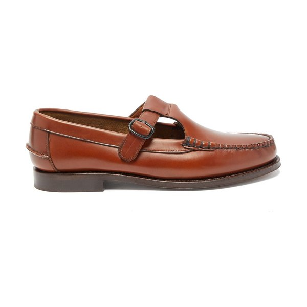 HEREU alber t-bar leather loafers in tan
