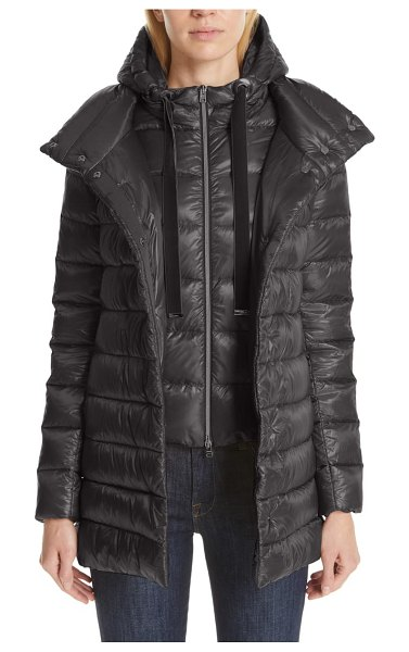 Herno high/low quilted down puffer coat with removable hooded inset in charcoal