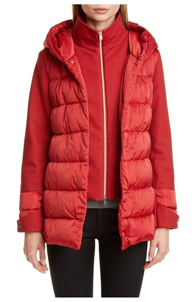 Herno hooded down jacket with removable windblocker in rosso