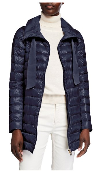 Herno Long Zip Hooded Woven Down Jacket in navy