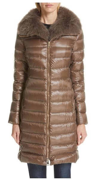 Herno quilted down puffer coat with removable genuine fox fur collar in chestnut