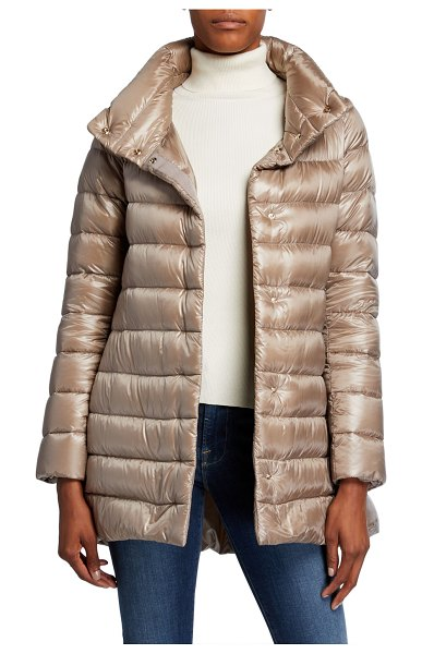 Herno Ribbed High-Low Down Puffer Jacket in taupe
