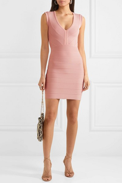 Herve Leger bandage mini dress in blush