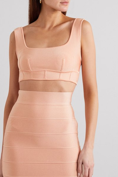 Herve Leger cropped bandage top in cream