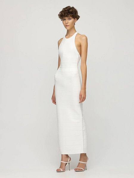 Herve Leger Halterneck stretch jersey long dress in white