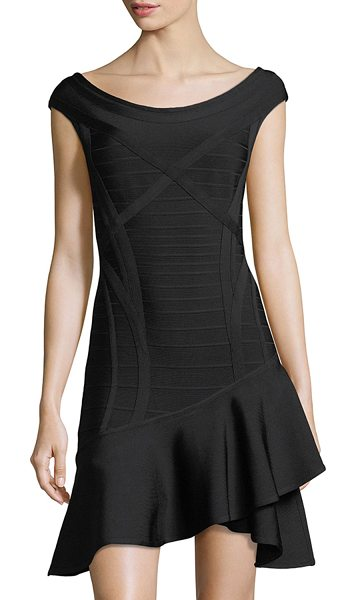 a3ca77d907f8 Herve Leger Nicole Scoop-Neck Ruffle-Hem Minidress in Black | Shopstasy
