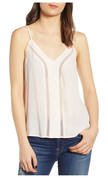 Hinge lace inset camisole in pink scallop