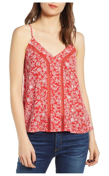 Hinge lace inset camisole in red bloom vined daisies