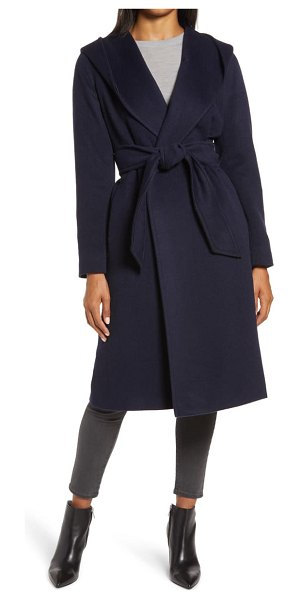HiSO shawl alpaca blend hooded wrap coat in navy