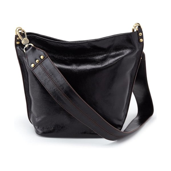 Hobo flare leather bucket bag in black