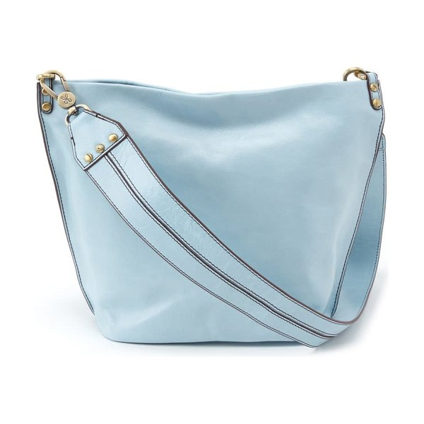 Hobo flare leather bucket bag in whisper blue
