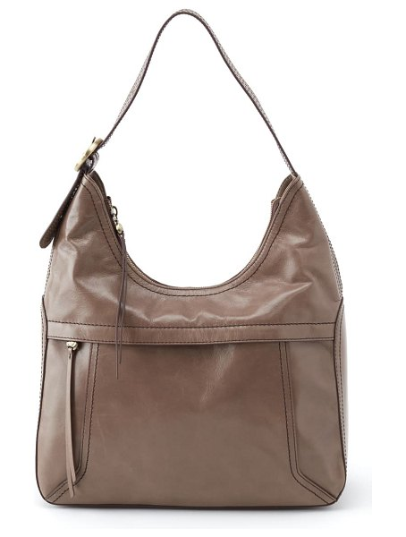 Hobo fortune leather shoulder bag in gravel