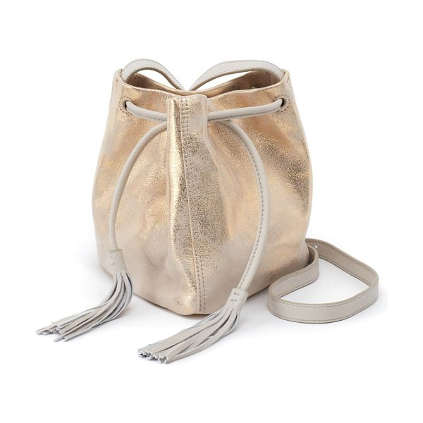 Hobo sander leather crossbody bucket bag in distressed gold