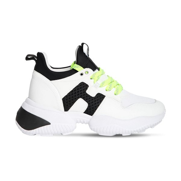 hogan 40mm interaction suede sneakers in white