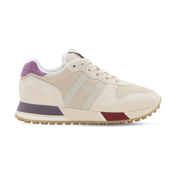 hogan H383 leather & tech sneakers in white,lilac