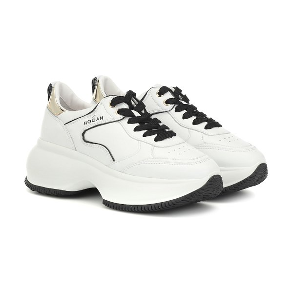 hogan maxi i active leather sneakers in white