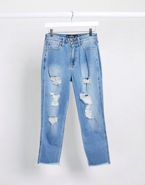 Hollister distressed mom jeans-blue in blue