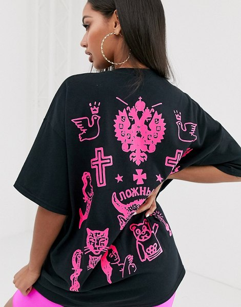 Honour hnr ldn tattoo back print graphic t-shirt in oversized fit in black