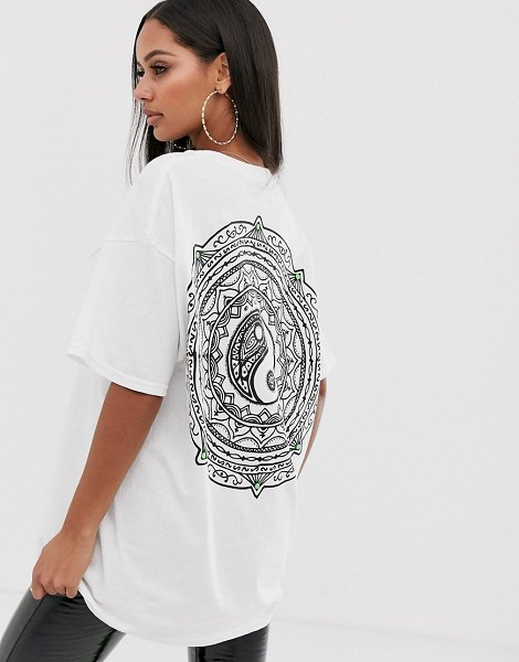 Honour hnr ldn ying yang back print graphic t-shirt in oversized fit in white