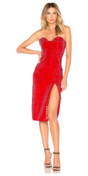 "h:ours Cesca Dress in red - ""Self: 100% polyLining: 97% poly 3% elastane. Dry clean..."