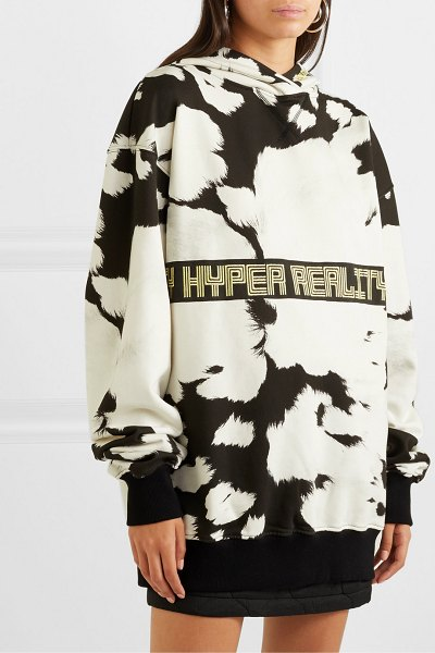 HOUSE OF HOLLAND oversized embroidered printed cotton-jersey hoodie in white