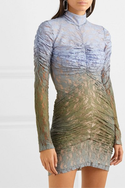 HOUSE OF HOLLAND ruched dégradé lace mini dress in army green