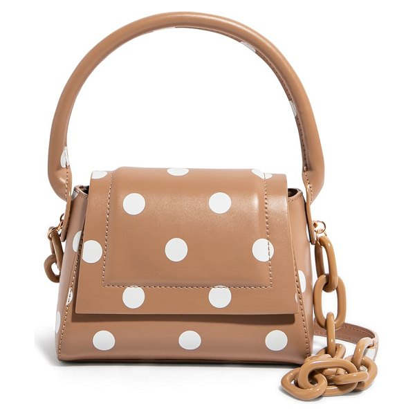 House of Want we are chic vegan leather top handle crossbody in tan polka dot