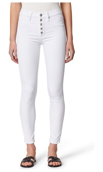 Hudson hudson barbara button fly high waist super skinny jeans in white