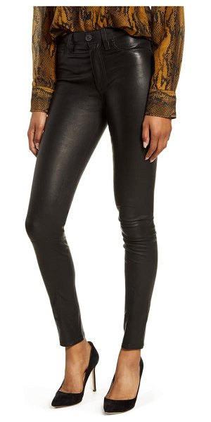 Hudson hudson barbara high waist super skinny leather pants in black