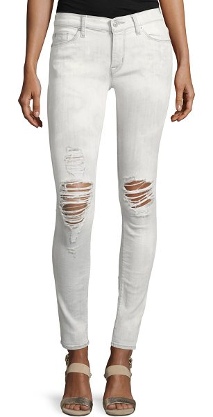 """HUDSON Nico Mid-Rise Distressed Super Skinny Jeans - Hudson """"Nico"""" in clouded white denim with whiskering and..."""