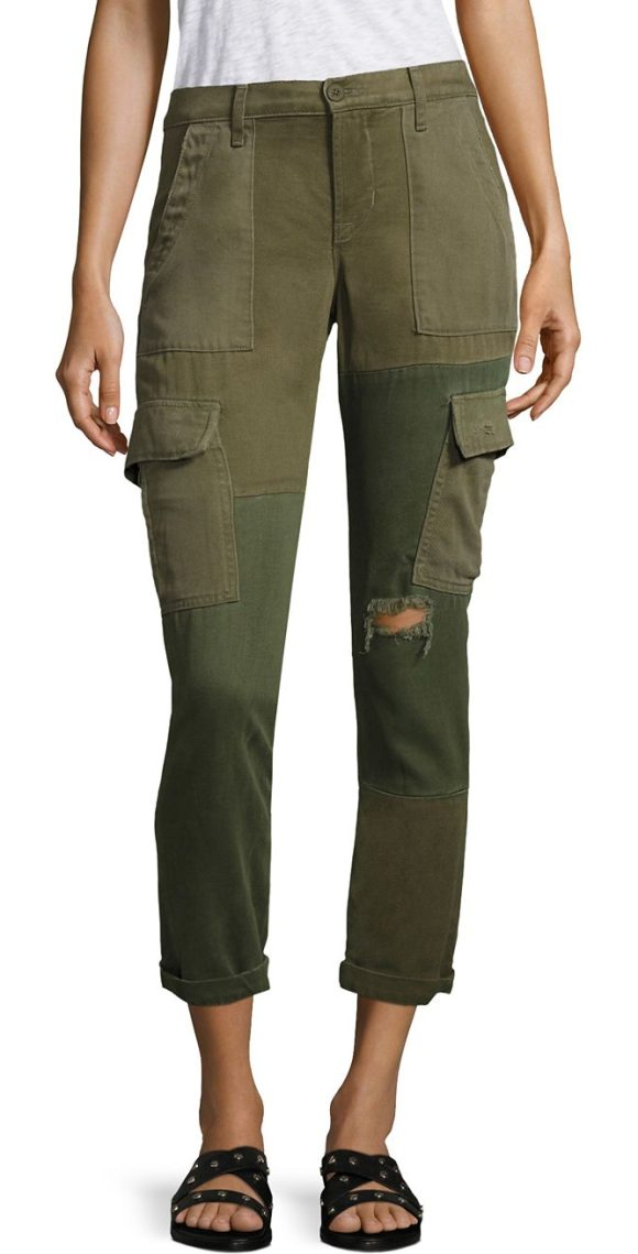 HUDSON riley distressed cropped utility cargo pants - Pieced, distressed cargo pants in straight silhouette. Belt...