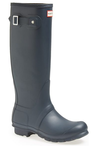 Hunter original tall waterproof rain boot in navy matte