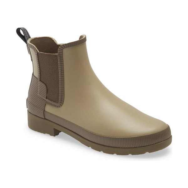 Hunter refined texture block chelsea boot in kettle/ fjord