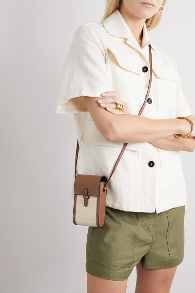 Hunting Season leather and raffia shoulder bag in brown