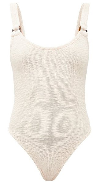 Hunza G domino scoop-neck crinkle-jersey swimsuit in ivory